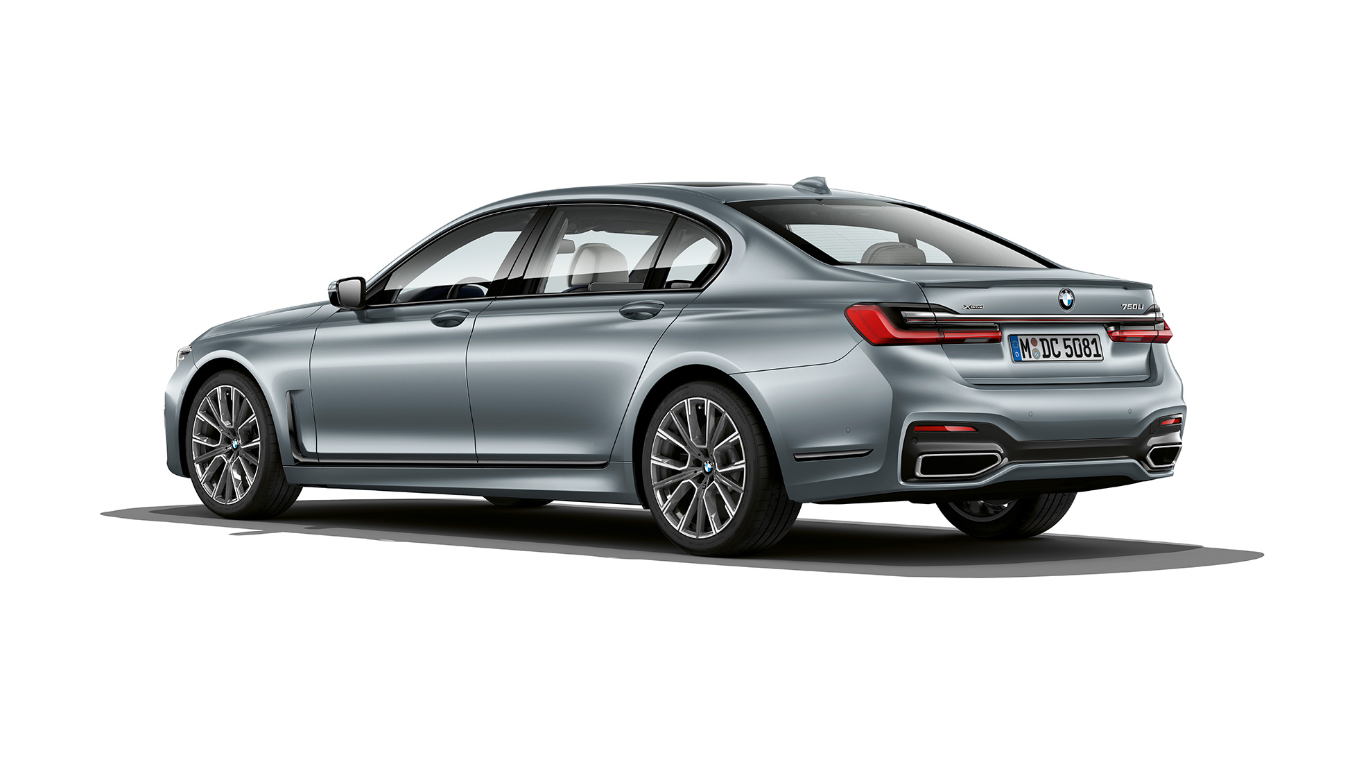 Grey BMW 7 Series Sedan M Sport package in three-quarter rear view